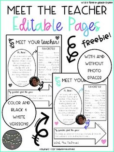 this meet your teacher page is simple and sweet this is perfect to edit and send in the mail before the first day of school arrives to give