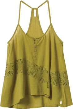 A woven gauze and crochet lace tank