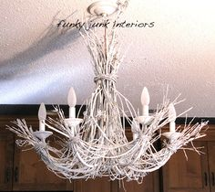 Funky Junk Interiors: Lighting up my life with a white twig chandelier. made with white Krylon spray paint, twigs, and a thrifted chandelier Driftwood Chandelier, Branch Chandelier, Chandeliers, Closet Chandelier, Unique Chandelier, Chandelier Makeover, Chandelier Ideas, White Chandelier, Cool Diy