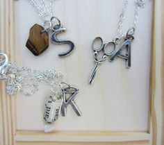 Rock paper scissors necklaces with initial charms. Best friend jewelry. by JacAndElsie, $33.00
