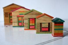 1980s Vintage Wooden Nesting House, Made in Japan, Colorful Natural Wood Toy, Miniature Houses