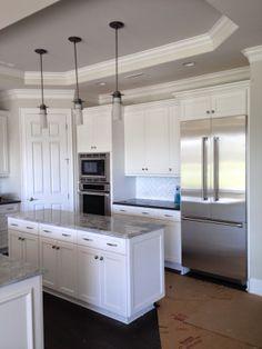 White Cabinets, White Kitchen, Impala Granite, Subway Tile,