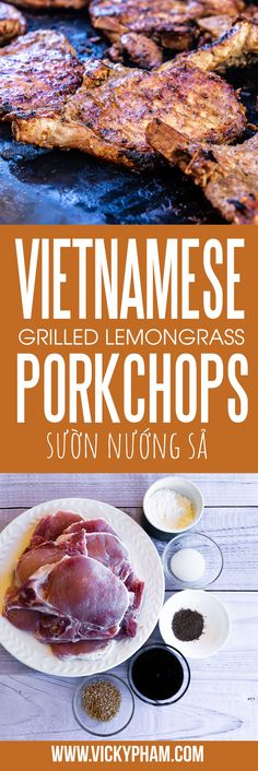 How to Make Vietnamese Grilled Lemongrass Pork Chops More from my siteThese Vietnamese grilled pork chops (suon heo nuong sa) are full of flavors than… – The German RecipesVietnamese Restaurant-Style Grilled Lemongrass Pork (Thit Heo Nuong Xa) Recipe Pork Chop Recipes, Meat Recipes, Asian Recipes, Cooking Recipes, Healthy Recipes, Healthy Vietnamese Recipes, Barbecue Recipes, Vietnamese Pork Chops, Vietnamese Grilled Pork