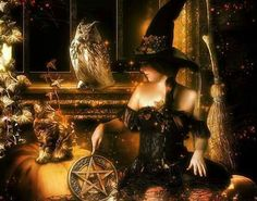 Samhain by Fae-Melie-Melusine on deviantART Samhain Halloween, Halloween Signs, Halloween Art, Halloween Facebook Cover, Samhain Ritual, Beautiful Witch, Doreen Virtue, Witch Art, Fantasy World