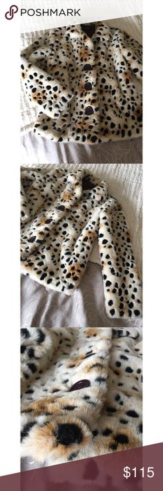 Cheetah Print Vintage Faux Fur Jacket LOVE THIS JACKET!!! Unfortunately no longer fits me 😭 Talk about a statement jacket; vintage inspired! Keeps you warm and has a silky interior. No wear seen anywhere. Has 3 buttons on the front! 😊🌸💕💕 Loco Lindo Jackets & Coats