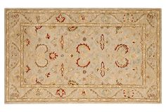 """Harlow Rug, Beige on OKL ($125-$639 v. $225-$1,200 retail for sizes ranging from 3'x5' and 2'3'x8' to 8'x10')  Origin: China  Construction: hand-tufted  Made of: wool pile  Pile height: 1/2""""  Color: beige  Care: Professional rug cleaning is recommended.  """"This rug captures the authentic look and feel of the decorative rugs made in the late 19th century in Anatolia. Handspun wool, an ancient pot dying technique, and a densely woven thick pile, give this rug its authentic finish."""""""