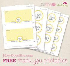 Free Thank You Printables