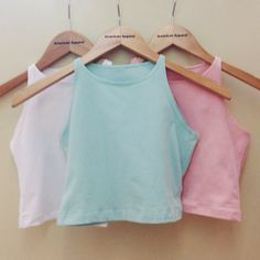 Sleeveless Crop Tops in pastel. #AmericanApparel