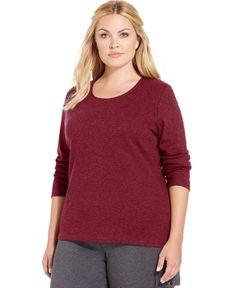 Karen Scott Plus Size Long-Sleeve Scoop-Neck Top, Only at Macy's