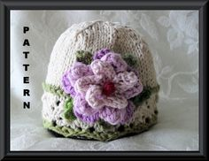 Knitting Pattern for Baby Hat-Children Clothing-Lace Cloche-Hand Knitted Baby Hat Pattern-SCENTS OF LAVENDER