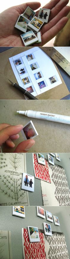 This is so cute! I need a magnetic board just so I can do this! Polaroid photo magnets!