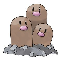 Dugtrio - 051 - In battle, it digs through the ground and strikes the unsuspecting foe from an unexpected direction. Extremely powerful, they can dig through even the hardest ground to a depth of over 60 miles.  @PokeMasters