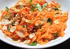 Grated carrot salad with flaked almonds, coriander and ginger by Jamie Oliver is so simple to make and the perfect side dish with curry. Grated Carrot Salad, Carrot Pasta, Carrot Salad Recipes, Vegetable Salad, Vegetable Recipes, Vegetarian Recipes, Healthy Recipes, Carrot And Coriander, Carrot And Ginger
