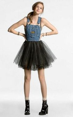 Cut the bottom off overalls and sew on tulle or a pre-made tutu    wouldn't wear this personally, but it would look SUPER cute on a little girl