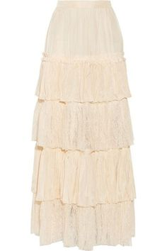 """Alessandro's """"Michele""""  Cream Silk-Satin and Lace Skirt is cut to sit at the Waist with a Tiered Lace Silhouette that grazes the floor. I've got it with a Black Crepe Camisole with Panels of Crocheted Lace and a Handkerchief Hem. Cover Up with a Vintage Embroidered Velvet Shawl and Sparkle with a Mandarin Necklace, Earrings & Ring. Finish with Black Satin Sandals and a little Black Satin Clutch (It's all on this board). Welcome to Warm Weather. - Gabrielle"""