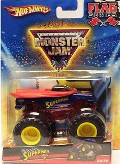2010 Hot Wheels Monster Jam #62/75 SUPERMAN 1:64 Scale Collectible Truck by Mattel. $14.99. matching Superman flag. diecast body. Crush the Competition with this 1:64 scale Hot Wheels truck! Die cast body and chassis mega monster tires & 4-wheel turning action. Let the dirt fly with these ground-poundin Hot Wheels Monster Trucks. Rev up for total domination and destruction on the Monster Jam circuit. It's unstoppable, in-your face Monster Jam madness! Get it before ...