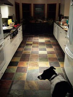 multicolor slate floor, would be perfect for a small mudroom/laundry - Bodenbelag Slate Floor Kitchen, Kitchen Redo, Kitchen Flooring, Kitchen Remodel, Doors And Floors, Slate Flooring, Mudroom, Home Remodeling, Beautiful Homes