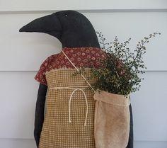 Primitive crow doll prim fall door hanger on Etsy, Sold