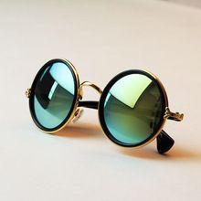 Envío gratis 2016 nueva moda gafas mujeres hombres moda retro redondez colores gafas de sol verano 7 colores gafas(China (Mainland))