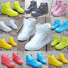 WOMENS LADIES FASHION SNEAKERS CANDY COLOR LACE-UP LEATHER HIGH-TOP SPORT SHOES