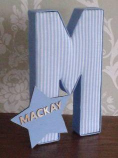 Boys baby blue stripe nursery/bedroom fabric letters, home decor. personalised door plaque, keepsake, birthday, Christmas, Christening, gift by AlphabetCraft on Etsy