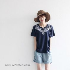 Korea womens apparel shopping mall [REDKITTEN] Embroidered tee / Size : FREE / Price : 34.64 USD #woman-fashion #casual #ootd #basic #tops #Tshirt #TEE #T #REDKITTEN