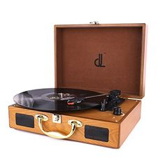 Vinyl//LP Turntable Record Player with Natural Wooden Suitcase Turntable PC Recor