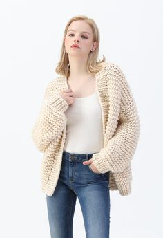 Hand Knit Cable Chunky Cardigan in Cream - Retro, Indie and Unique Fashion Longline Cardigan, Chunky Cardigan, Knit Cardigan, Cardigan Pattern, Sweater Knitting Patterns, Knit Patterns, Hand Knitting, Unique Fashion, Warm Sweaters