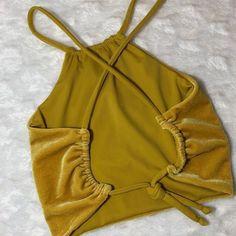 X-back Crop Top// Mustard velvet // reversible to solid mustard Fashion Sewing, Diy Fashion, Ideias Fashion, Fashion Outfits, Diy Clothing, Sewing Clothes, Clothing Patterns, Clothes Crafts, Crop Top Outfits