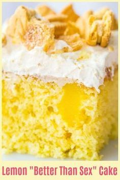 Hold on to yer horses, this Lemon Better Than Sex Cake is BETTER than the original better than sex cake! You can have the chocolate, give me all of the lemon please! #lemon #dessert #nobake #betterthansexcake #cake #pudding #recipe #cookies #whippedcream