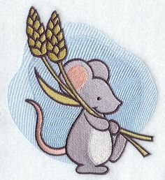 Redwork Embroidery Hedgehog | Adorable Marnie Mouse marches along with stalks of wheat. She is a ...