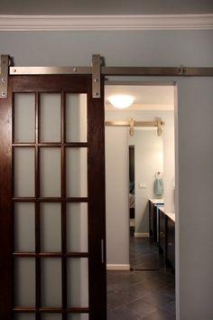frosted glass barn doors | Contemporary Bathroom : Pane Glass Door, Door Pane, Bedroom Door ...