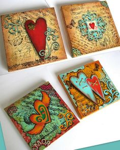 I am utterly in love with this artist. Such gorgeous Mixed Media canvases + jewellery making + polymer clay . . . . . .  .  Flickr - Photo Sharing!