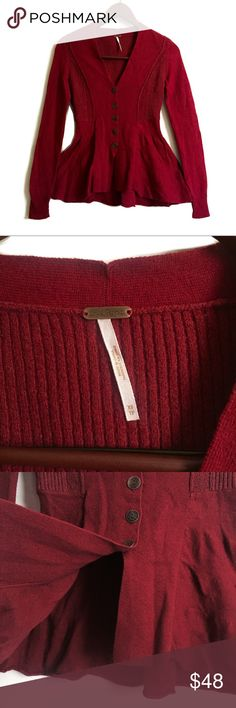 Free People Peplum Cardigan Free People Cardigan ▫️Color: Burgundy ▫️Material: 58% Cotton, 22% Nylon, 6% Wool, 7% Polyester ▫️Button Down Cardigan  ▫️Slight Flare at the Waistline ▫️Perfect for Work or a Night Out ▫️Great Preowned Condition  🚫No Trades🚫 Free People Sweaters Cardigans