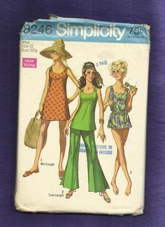 1969 Simplicity 8246 Bell Bottom Pants with Inverted Pleat Creating the Bell Sun Dress Tunic and Bathing Suit Size 10. $10.25, via Etsy.