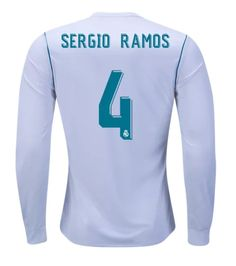 Sergio+Ramos+#4+Real+Madrid+soccer+2018+Home+Long+Sleeve