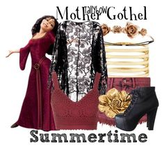 """""""Mother Gothel"""" by tallybow ❤ liked on Polyvore featuring Kenneth Jay Lane, Bambam, Charlotte Russe, Pussycat, Topshop, Allison Daniel and Jeffrey Campbell"""