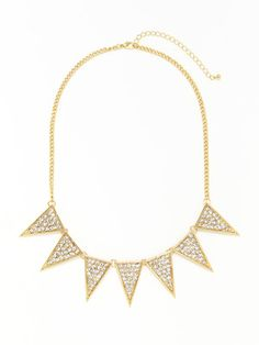 Leslie Danzis Gold & Clear Crystal Triangle Necklace