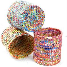"""recycled plastic bag waste baskets - plastic bags rolled into cord and """"sewn"""" together, in the coil-root-technique"""