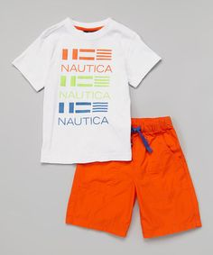 Love this White 'Nautica' Tee & Orange Shorts - Infant & Toddler on #zulily! #zulilyfinds
