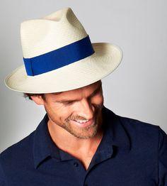 Natural Straw Fedora Trilby Panama Hat - Rome - FREE SHIPPING - new handmade - Royal Blue Cobalt Azul nautical safari city nautical man men