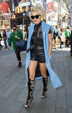A bright vest instantly ups your leather's cool factor. Rita Ora wears the Tibi Fall '14 powder blue vest via Vogue Daily.