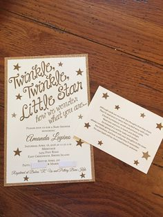 Twinkle, Twinkle, Little star how we wonder what you are. Gender neutral baby shower invitation. Invitations by Crosstown Press- Cranston, RI