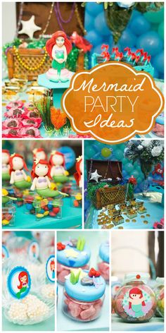 An amazing Little Mermaid girl birthday party with a balloon backdrop and cute favors!  See more party ideas at CatchMyParty.com!