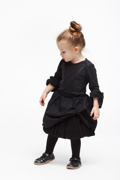 Eco Friendly Kids Fashion |  Extravagantly constructed bodysuit with ruffled sleeves made from organic cotton with shoulder pads and press-studs at the crotch. Explore our sustainable clothing for boys and girls in black at https://www.infantiumvictoria.com/collections/urgothic-collection/products/corset-bodysuit | Baby Clothes