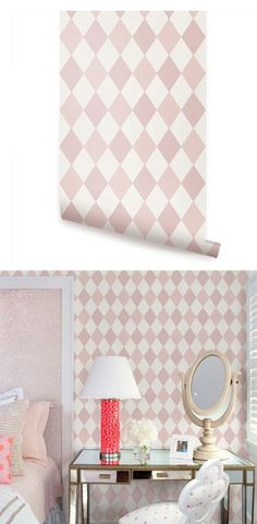 Diamond Pink Peel and Stick Wallpaper  - Wall Sticker Outlet