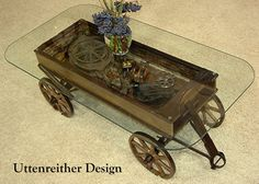 Antique Wood Wagon Coffee Table, Glass Top Display Table, Rustic, Country, Western, Primitive, Repurposed Uttenreither Design, FREE SHIPPING