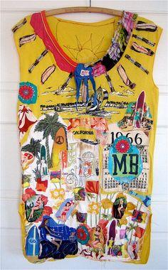 California  BEACH  Wearable Collage Folk Art Tunic Random Scraps of Fabric my bonny