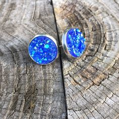 Image of silver stud earrings, assorted druzy colors