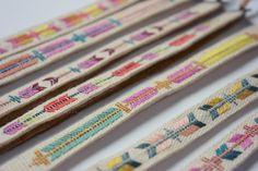 embroidered linen bracelet.